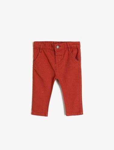 Koton Kids Cep Detaylı Pantolon Kırmızı